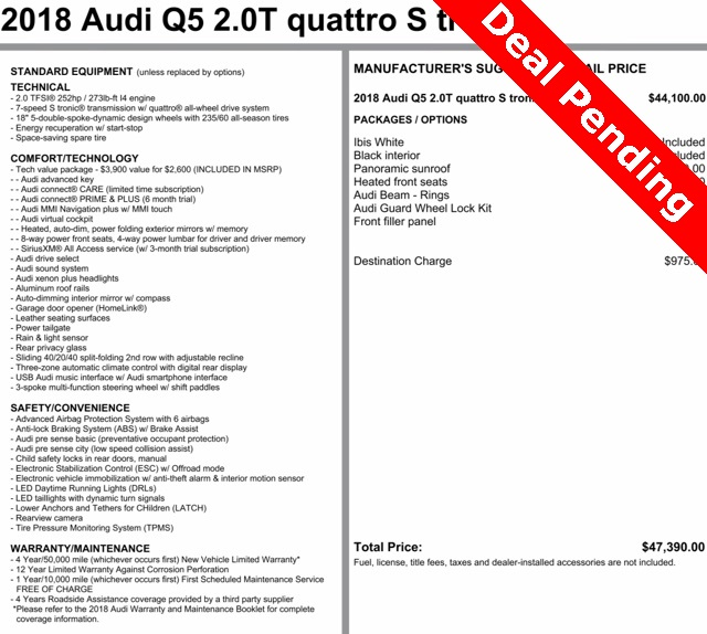 Certified Pre-Owned 2018 Audi Q5 w/ Tech